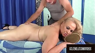 Old Masseur Rubs Sightless Full-grown Slut Summer with Fingers and Toys