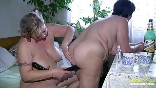 OldNannY BBW Full-grown Lesbians Playing Together