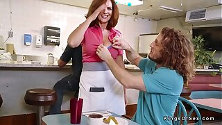 Dude bangs prominent naturals matured waitress