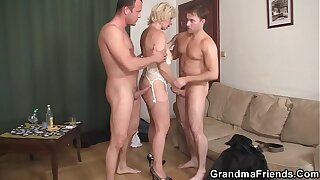 Two men bang X-rated kirmess grandma