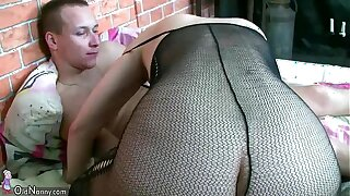 Hot Horny spectacled granny and Young man fuck OLDNANNY