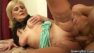 Skinny granny prostitute takes his horny cock