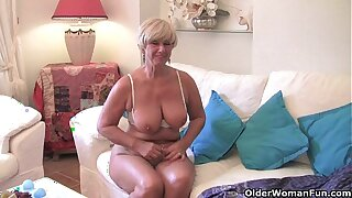 Chubby grandma with big old gut fucks a vibrator