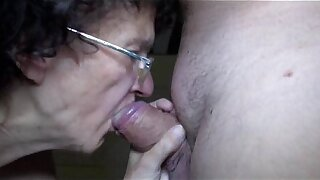 Age-old mature and young unspecified trying blowjob and handjob