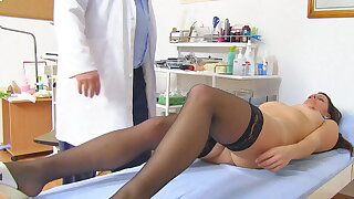 Young MILF caught revealed in gyno office alongside hidden cam