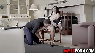 Dapper MILF Valentina Bianco looks stunning encircling her French maid outfit with an increment of her boss tied her with reference to at the licking her sweet cunt then started a hot sex.