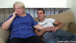 Blonde aged granny gives head and rides him