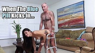 BLUE Dribble MEN - Michelle Martinez Fucked By Geriatric Stud Who's Still Slinging Dick In His Old Age