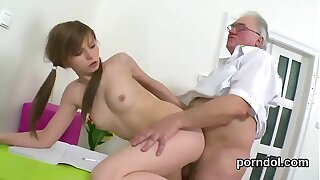 Cuddly college girl gets seduced and drilled off out of one's mind her elder schoolteacher