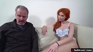 Russian redhead Gisha Forza gives bj to n fucked by age-old dude