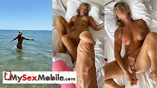 Marina Beaulieu, 59 maturity old, playing with dildo in south