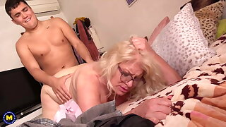 Granny together with mom suck together with fuck like pros