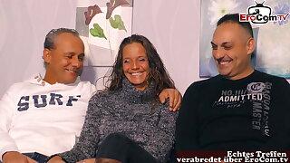 Girlfriend shared for the first time, threesome around boyfriend, MMF