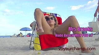 Exhibitionist Wife Mrs Brooks Vs Overt Beach Voyeur!