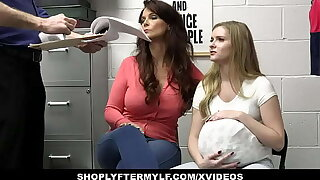 Big Titted MILF And Stepdaughter Punished By Officer In The Backroom