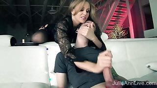 Femdom – Julia Ann Makes Pal Toy Eat His Jizz After Handjob!