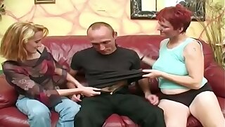 Pale redhead mature joins regarding with couple